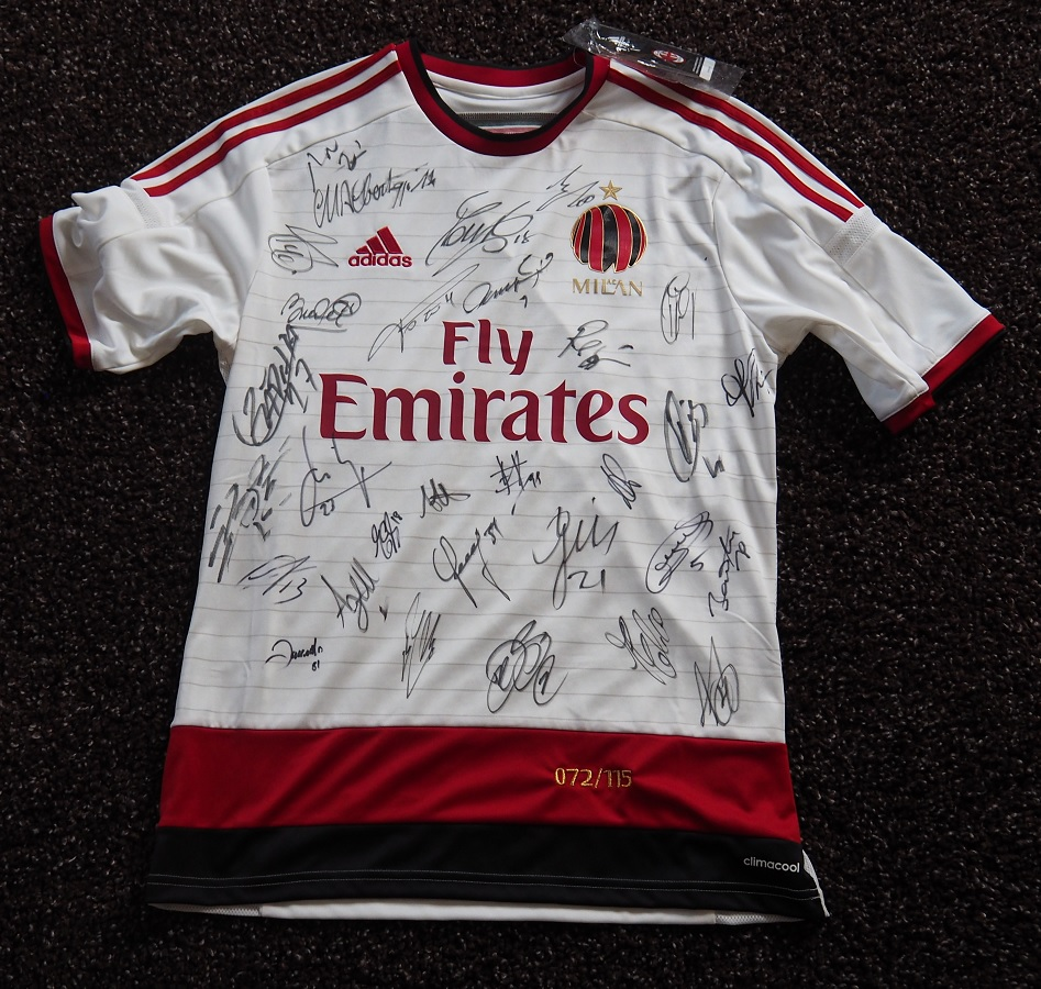 AC Milan Away 2014/15 115th Birthday Shirt Signed by Squad